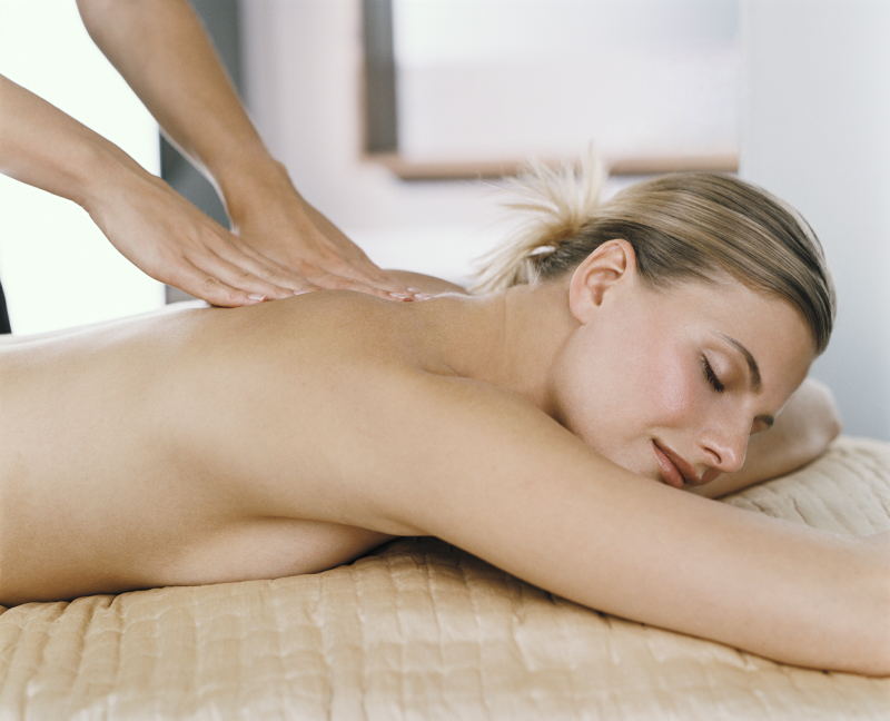 Blonde Female Back Massage Side View